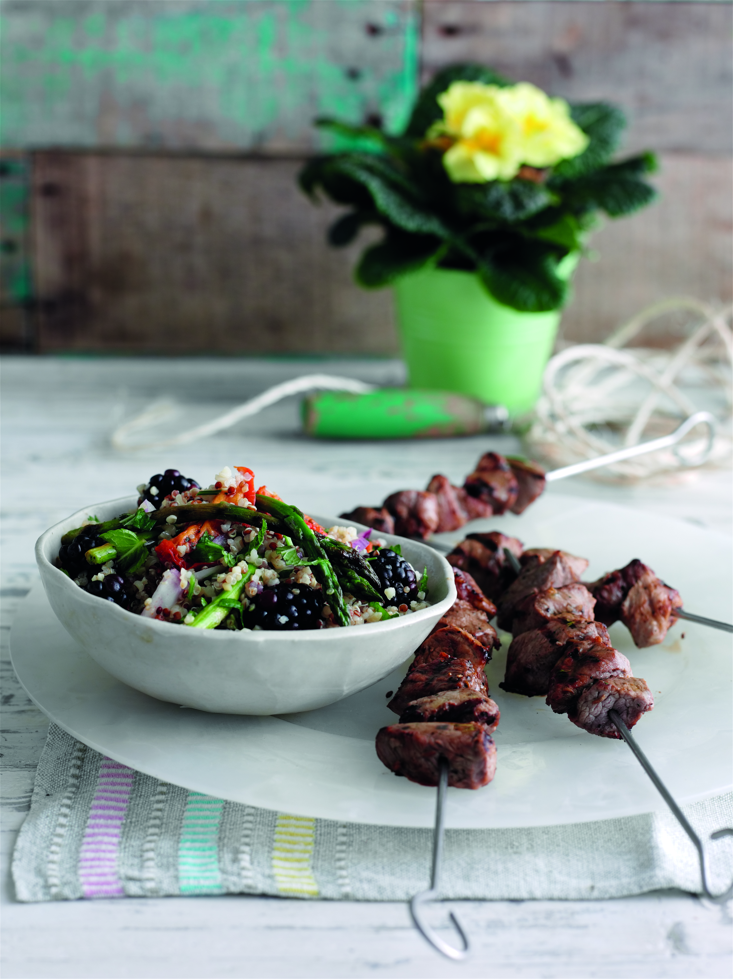 Recipe: Spiced lamb skewers with blackberry quinoa salad - Life & Soul ...