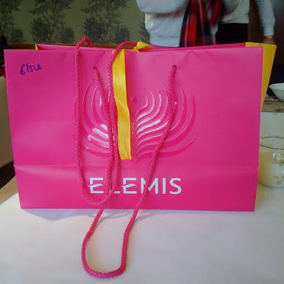 An Elemis goody bag containing Elemis Aching Muscle Super Soak